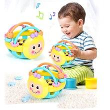 Yumuşak kauçuk Juguetes Bebe karikatür arı el vurma çıngırak dambıl erken eğitim çocuk için oyuncak el çan bebek oyuncakları 0 12 ay