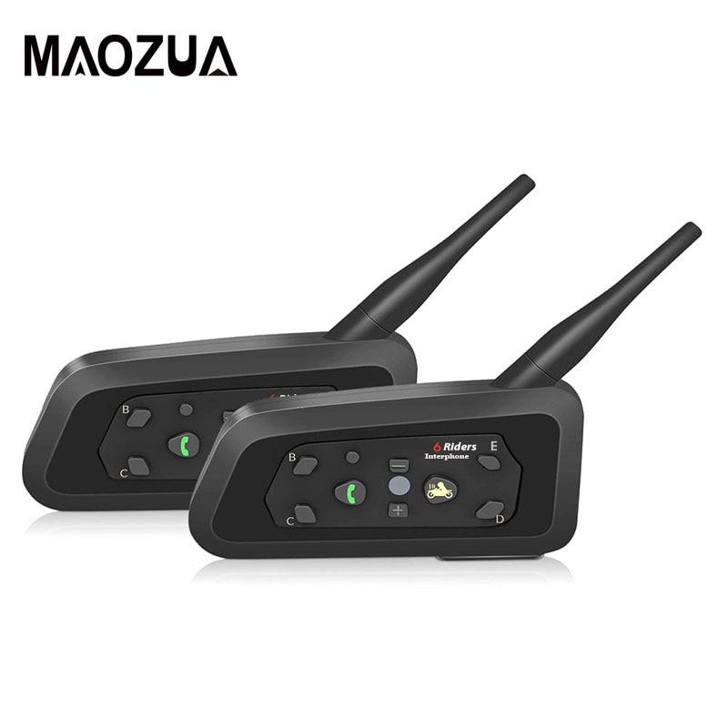 2PCS R6 Motorcycle Bluetooth Helmet Headsets Intercom Handsfree Talker For 6 Riders BT Wireless Intercomunicador Interphone MP3