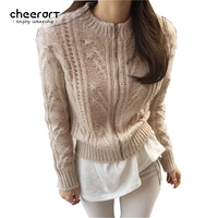 Cheerart Autumn Zipper Female Cardigan Sweater Women Turtleneck Tricot Crocheted Pull Femme Kahaki Black Winter Knitwear