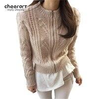 Cheerart Autumn Zipper Female Cardigan Sweater Women Turtleneck Tricot Crocheted Pull Femme Kahaki Black Winter Knitwear