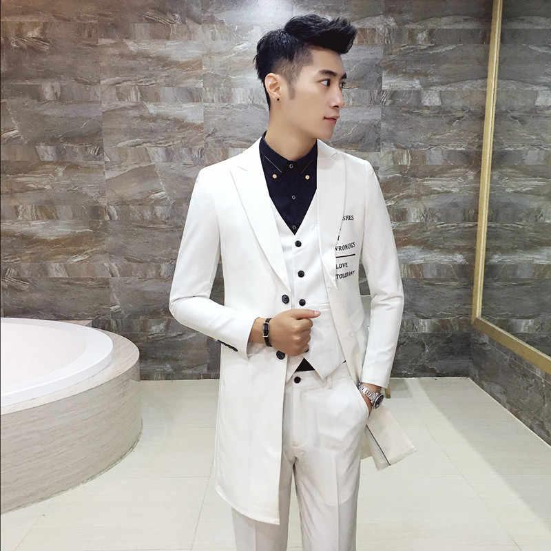 Men Blazer Trench Groomsman Long Men's Wedding Suit mens suits homens blazer wedding groom letter printed white black suit