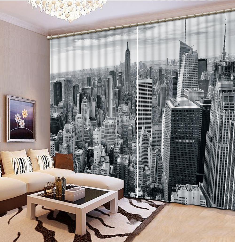 White And Black Bedding Room 3D Curtains 3D Window