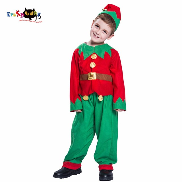 Eraspooky Toddler Christmas Costume For Kids Santa Claus Cosplay Boys  Christmas Elf Clothes Uniform Hat Suit Child New Year 2018 5748d2f7dc