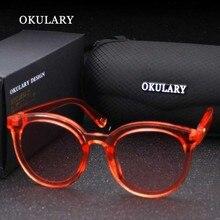 Colorido de la manera gafas de Sol de Mujer de Marca Diseñador gafas de Sol Redondas de La Vendimia Transparente Protección Gafas gafas de sol mujer