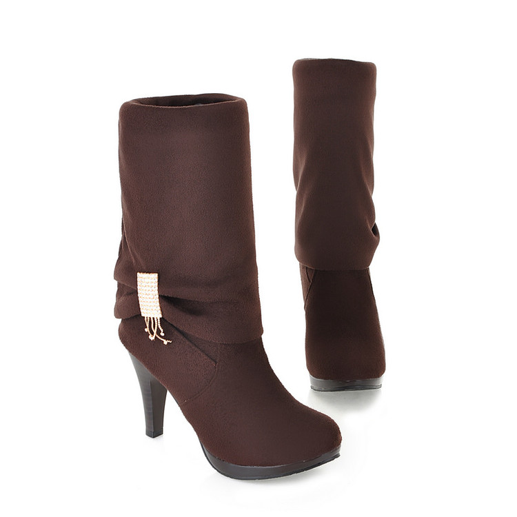 Big size 34-43 women shoes are fine with high-heeled boots boots round 2 worn biker botts botas 906
