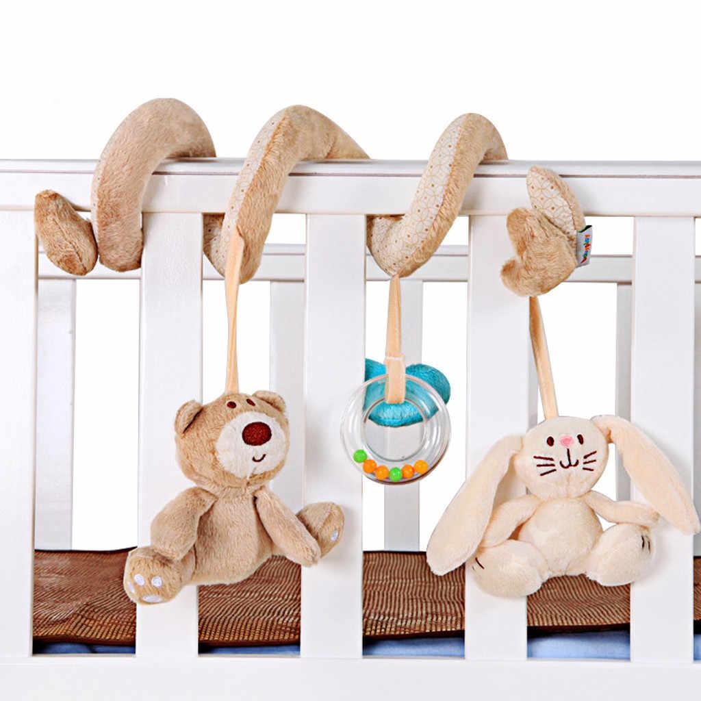 Детские погремушки для малышей, милые животные, Медведь, Кролик, мобильные коляски, кровать, колокольчик, спиральные подвесные куклы, автомобильное сиденье, детские игрушки для игр