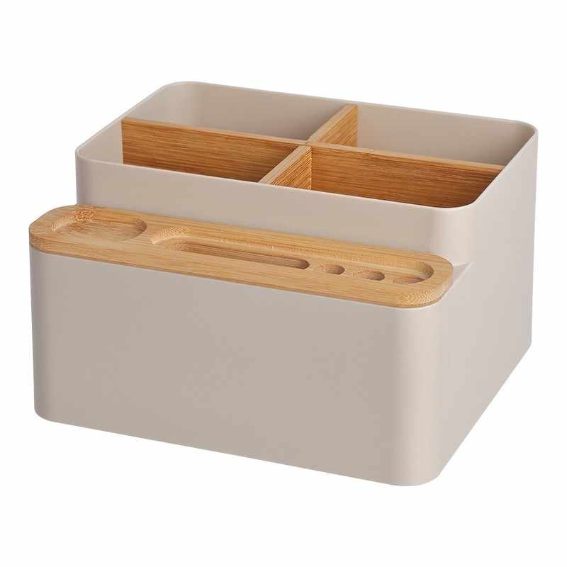 Косметичка деревянная шкатулка Настольный пульт дистанционного управления коробка для хранения косметики контейнер лак для ногтей Помада держатель для хранения