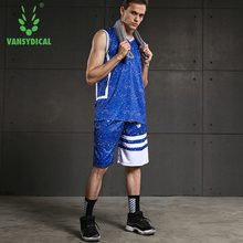 2018 Men's V-neck Sportswear Running Sports Sets Basketball Workout Gym Summer Shirts Quick Dry Shorts/2pc