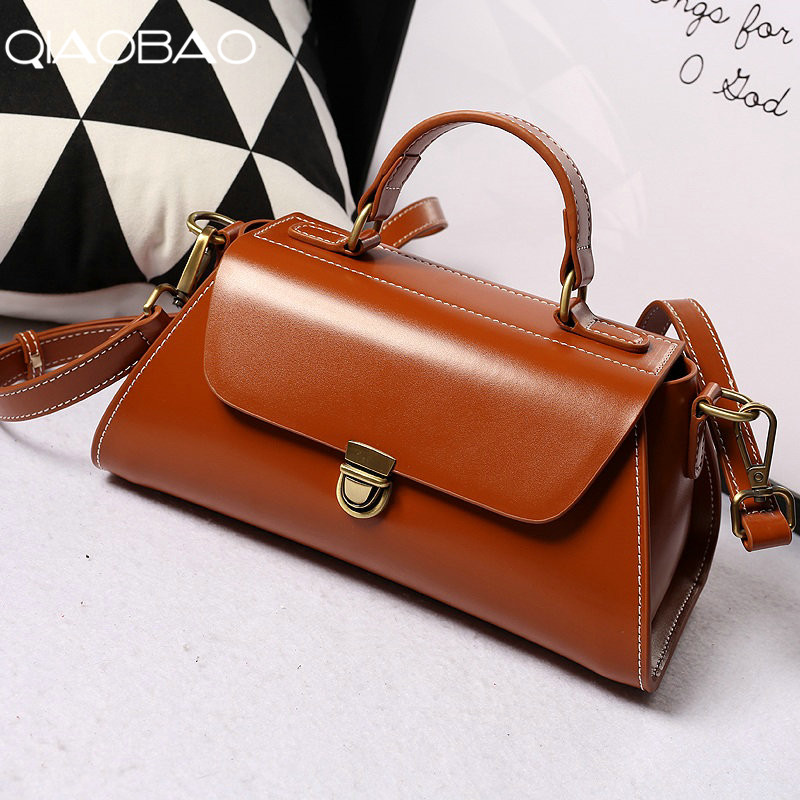 QIAOBAO Brand Genuine Leather Luxury Bag 100% Real Cow Leather Elegant Multi Functional Big Shoulder Bags For Women цена