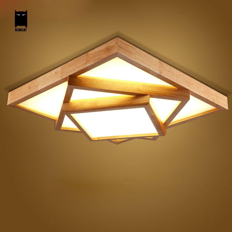 Led square big oak wood acrylic ceiling light fixture for Luminarias de exterior led