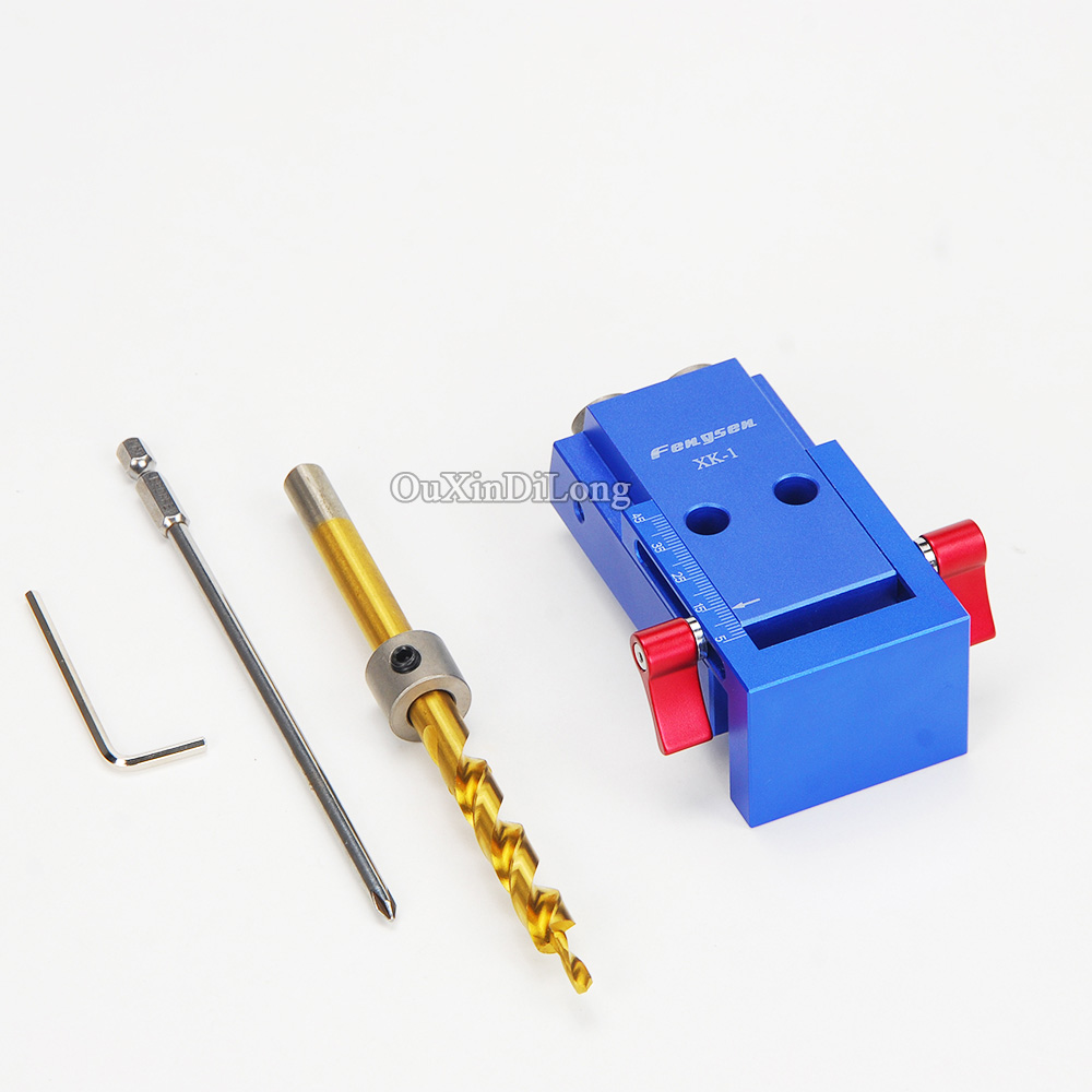 Stock ~ Mini Kreg Style Pocket Hole Drill Jig Kit With Step Drilling Bit Woodwork Tool woodworking tool pocket hole jig woodwork guide repair carpenter kit system with toggle clamp and step drilling bit k527