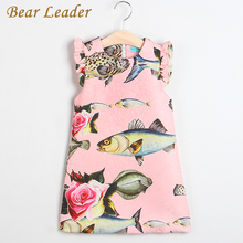 Bear Leader Girls Dress 2017 New Spring&Summer Baby Girls Dress Small fish Pattern Print Design Sleeveless Girls Clothes 3-8Y