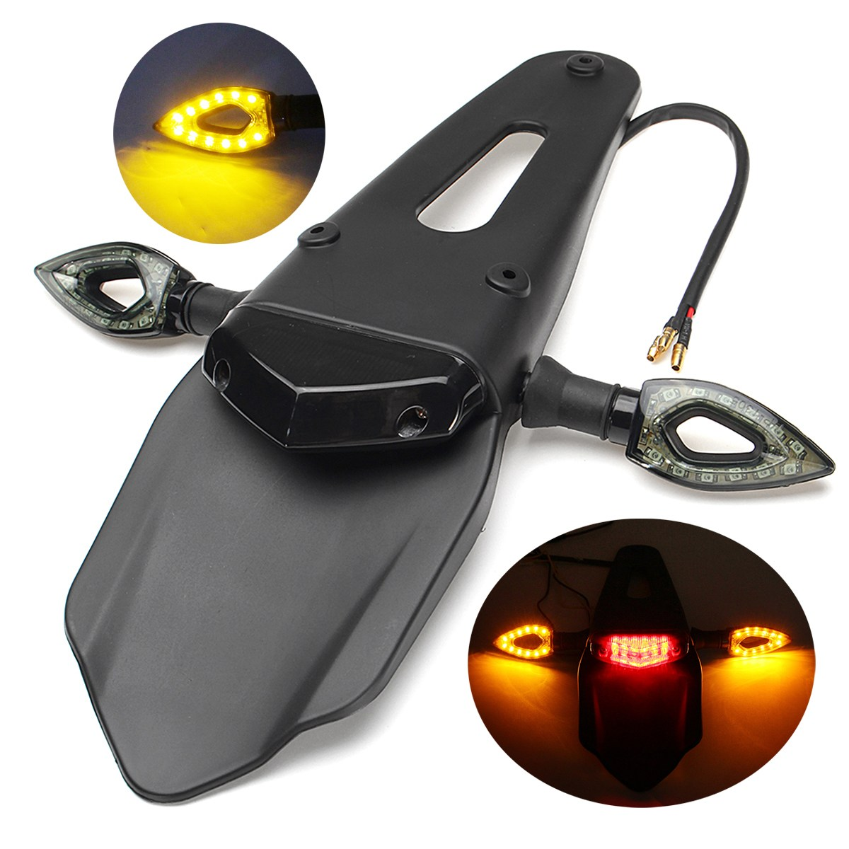 Motorcycle Bike Accessories Enduro Smoke Red Clear LED Rear For Fender Brake Tail Light With Turn Signals Lamp