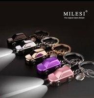 Milesi-חדש 2017 מותג LED Keychain מחזיק מפתחות מכונית מפתח טבעות סגסוגת אבץ מחזיק זוג גברים נשים מתנת חידוש חדשני