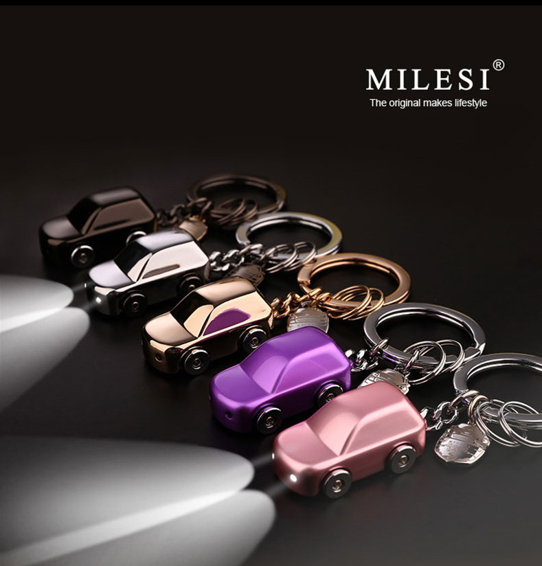 Milesi - New 2017 Brand LED Car Key chain Keychain Key Holder Zinc Alloy Rings for Men Women Couple Novelty Gift innovative