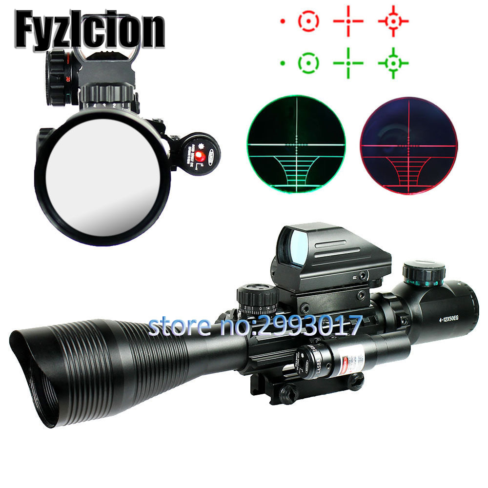 Fyzlcion 4-12X50 EG Tactical Rifle Scope & Holographic 4 Reticle Sight & Red Laser VE659 T18 0.4 fyzlcion hunting 4 12x50eg tactical air gun red dot laser sight scope holographic optics rifle sight scope