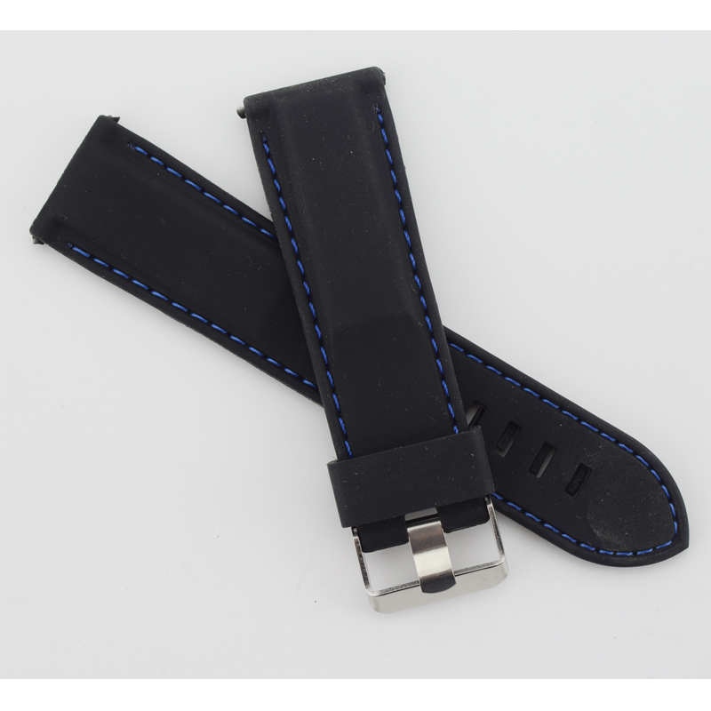 Outdoor Sport 24mm Black Silicone Rubber Watch Strap blue Stitching Band Replacemrnt Pin Buckle watchband купить недорого в Москве