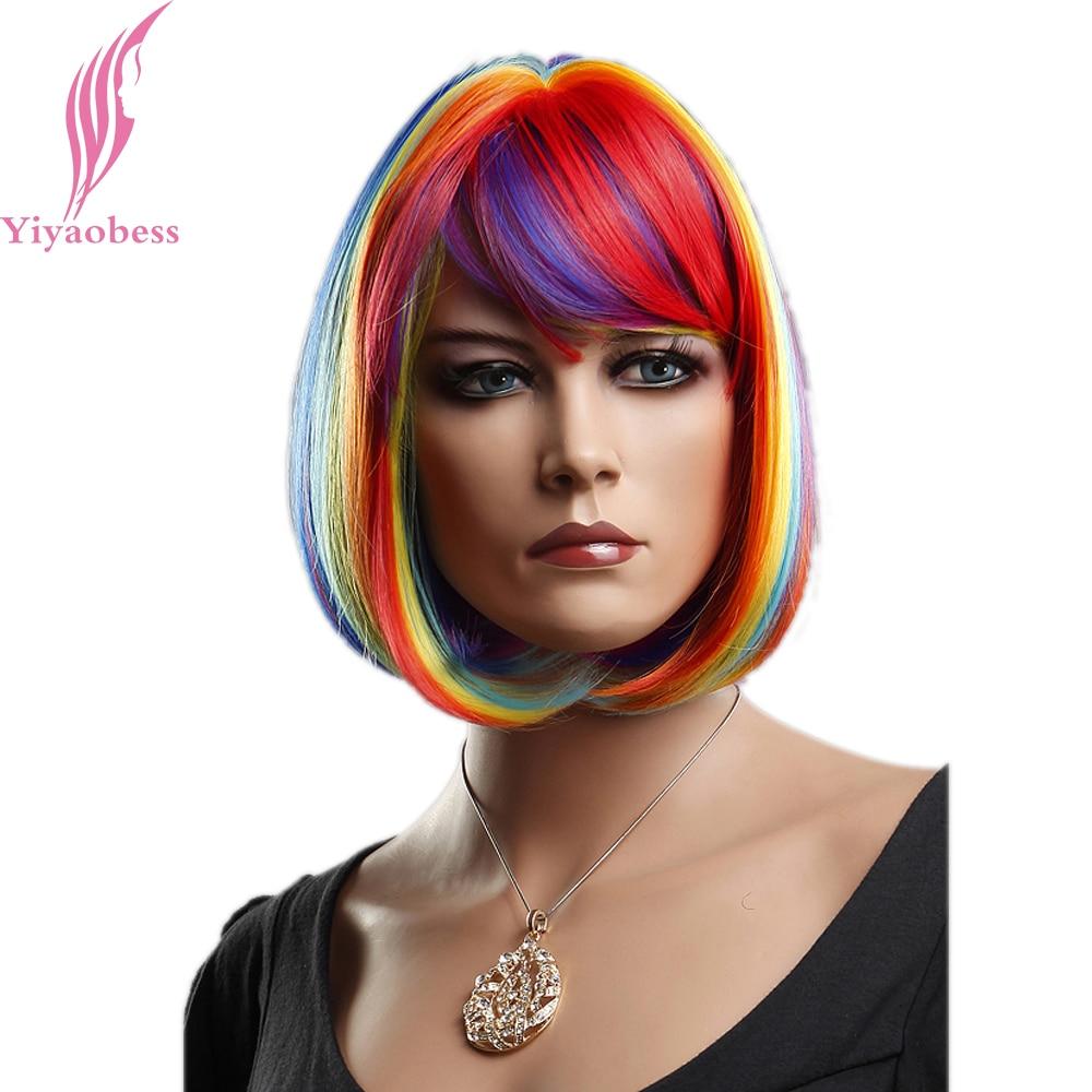 Yiyaobess 12-tums syntetiskt hår regnbåge korta peruker för - Syntetiskt hår