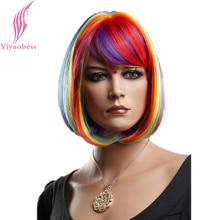 Yiyaobess 12-tums syntetiskt hår regnbåge korta peruker för kvinnor Färgglada Bob Cosplay peruk med Bangs