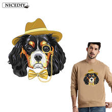 Nicediy Fashion Gentleman Dog Patches Iron On For Clothing Deal With It Clothes Stickers Heat Transfer Printing T-shirt