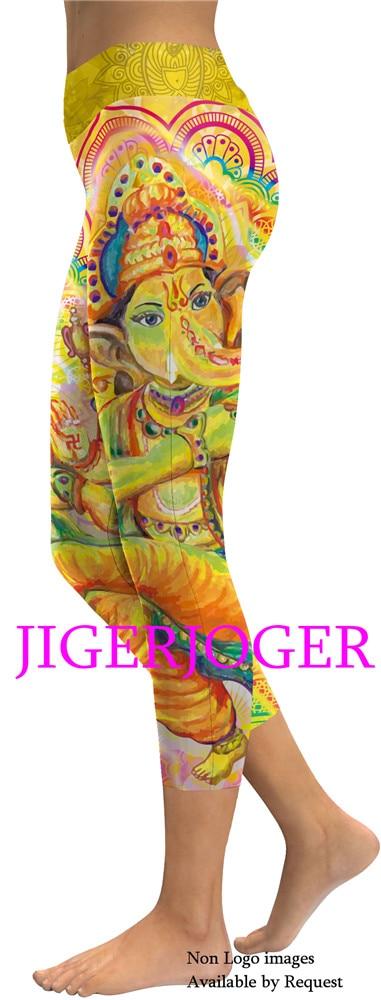 5fe819f06b22a 2019 JIGERJOGER 2019 High Waistband Pocket Yellow Ganesha Yoga ...