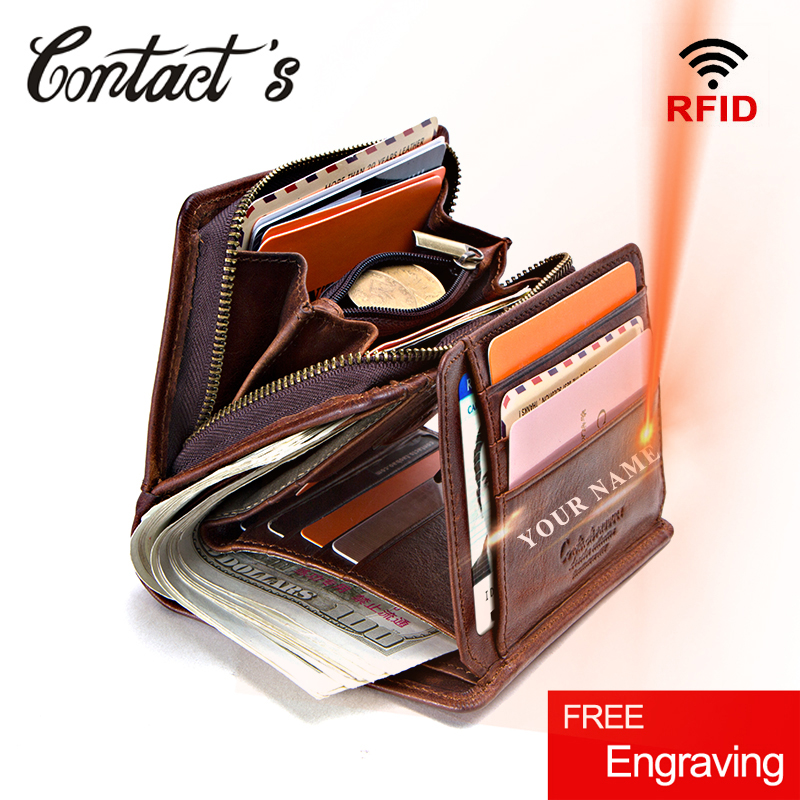 100% Genuine Leather Men Wallets Zipper Coin Purse Short Male Money Bag Quality Designer Rfid Walet Small Card Holder Clutch