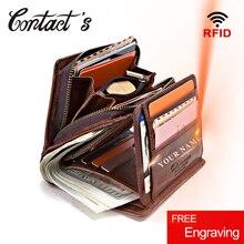 100% en cuir véritable hommes portefeuilles fermeture éclair porte monnaie court homme argent sac qualité concepteur Rfid Walet petit porte cartes pochette
