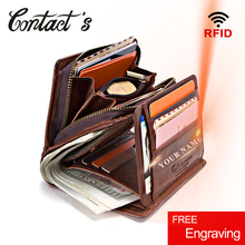 100% oryginalne męskie portfele skórzane Zipper Coin torebka krótki męski portfel jakości projektant Rfid Walet małe etui na karty sprzęgła