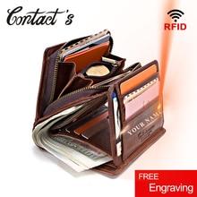 Мужские кошельки из 100% натуральной кожи, кошелек на молнии для монет, короткая мужская сумка для денег, качественный дизайнерский кошелек с Rfid, маленький клатч с держателем для карт