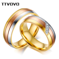 TTVOVO Stainless Steel Ring Cubic Zircon Couple Wedding Rings for Women Men AAA CZ Stone Engagement Bands Promise Finger Jewelry