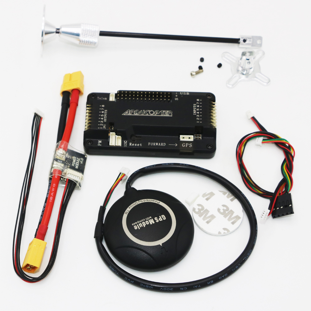 1 set APM 2.6 Flight Controller Board side pin+Ublox-7M GPS module + GPS Antenna Seat +Power Module Cable RC Airplane Part
