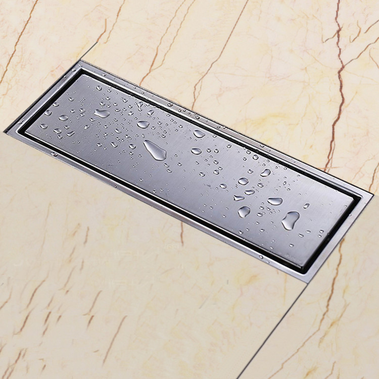 ФОТО 304 solid stainless steel 300 x 110mm square anti-odor floor drain bathroom invisible shower drain