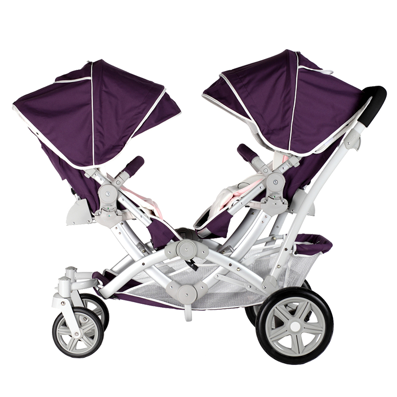 Kids koalas twins baby stroller,high quality twins pram,purple and blue 2 color available double stroller red pink blue color twins infant stroller sale kids sleep comfortable more at ease sophisticated technologies