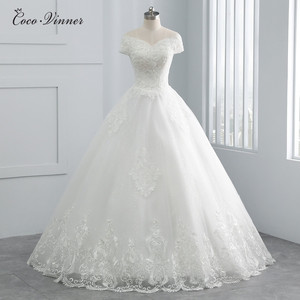 Image 1 - Beatiful Pearls Beading Cap Sleeve Dubai Wedding Dress 2020 Ball Gown Lace up Embroidery Vintage Bride Dress Wedding Gown WX0107