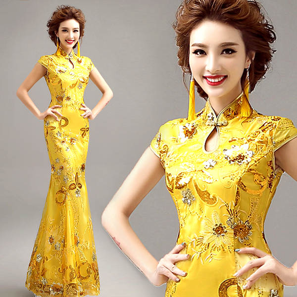 traditional chinese clothing for wedding cheongsam dress in sequin qipao  women dresses chinese traditional dress custom 7fae6a211bb6