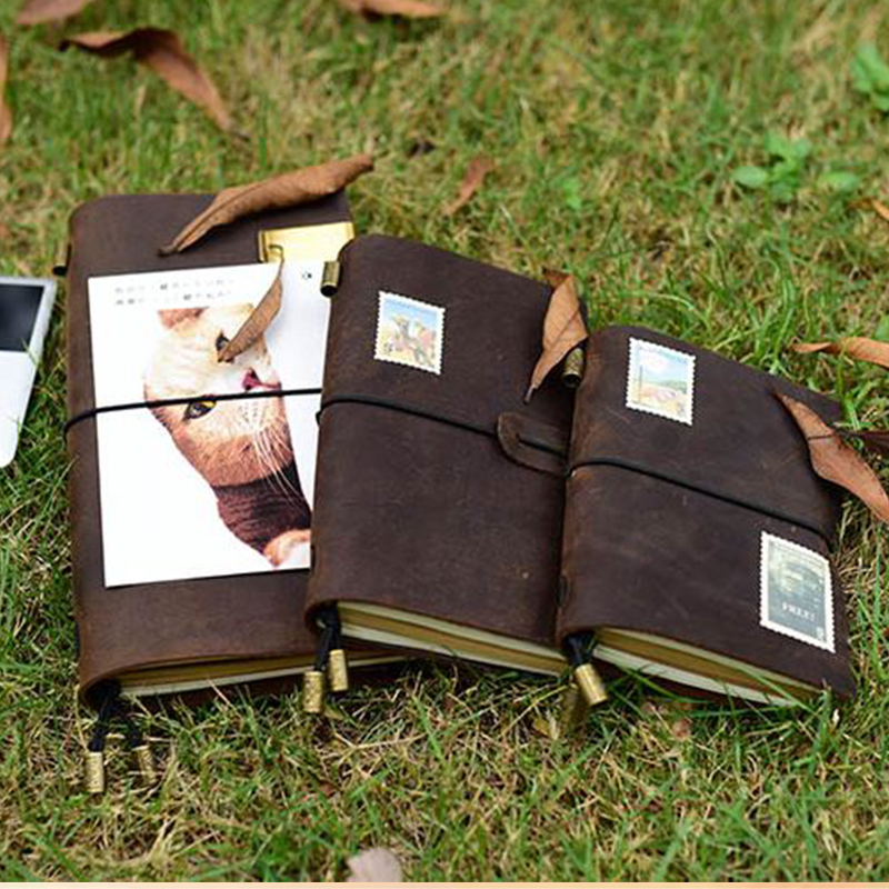Cuaderno de cuero genuino viajeros diario agenda planificador hecho a mano cuadernos vintage diario caderno sketchbook escuela suministros