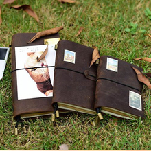 Prawdziwy skórzany notes travellers journal agenda handmade planner notebooki vintage diary caderno sketchbook szkolne