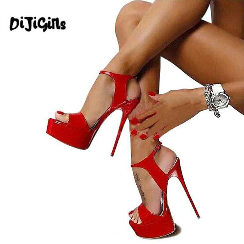 Dijigirls Sıcak Satış 2018 Yaz Tarzı Seksi 16 cm Kadın Sandalet Yüksek Topuklu Burnu açık Tokaları Gece Kulübü Ayakkabı Siyah dropshipping
