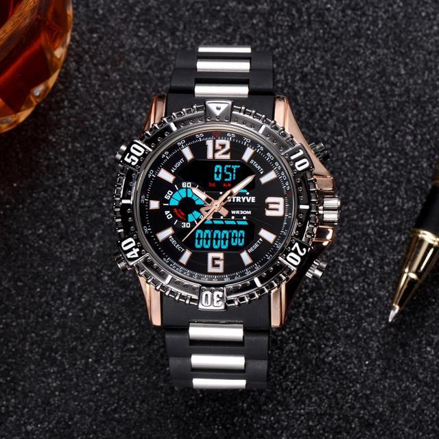 b23f97d10d15 2018 nuevo Stryve marca de lujo hombres relojes militares cuarzo de doble  pantalla Digital Led reloj