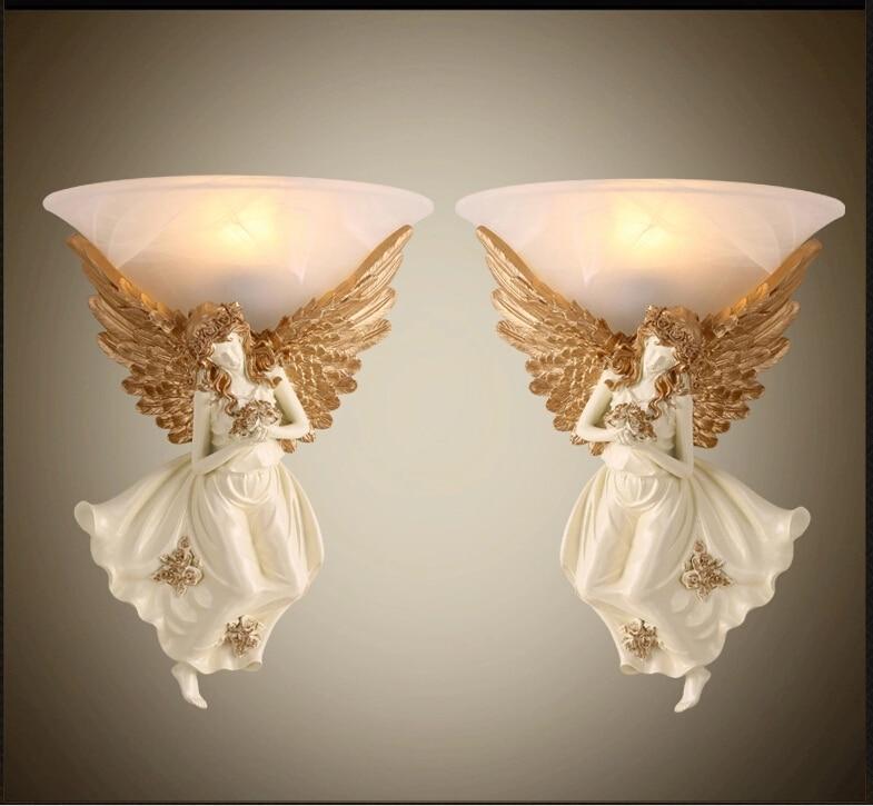 €79.23 55% de réduction|Moderne bref Arandela mur LED lampe mode européenne  applique murale ange fille abat jour applique chambre E27 Apliques ...