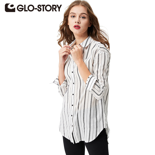 3f9c4b6a590f24 GLO-STORY 2018 Female Blouses Long Sleeve Button Down Women s Casual Shirt  Vertical Striped Chiffon Tops Loose Blusas WCS-3678