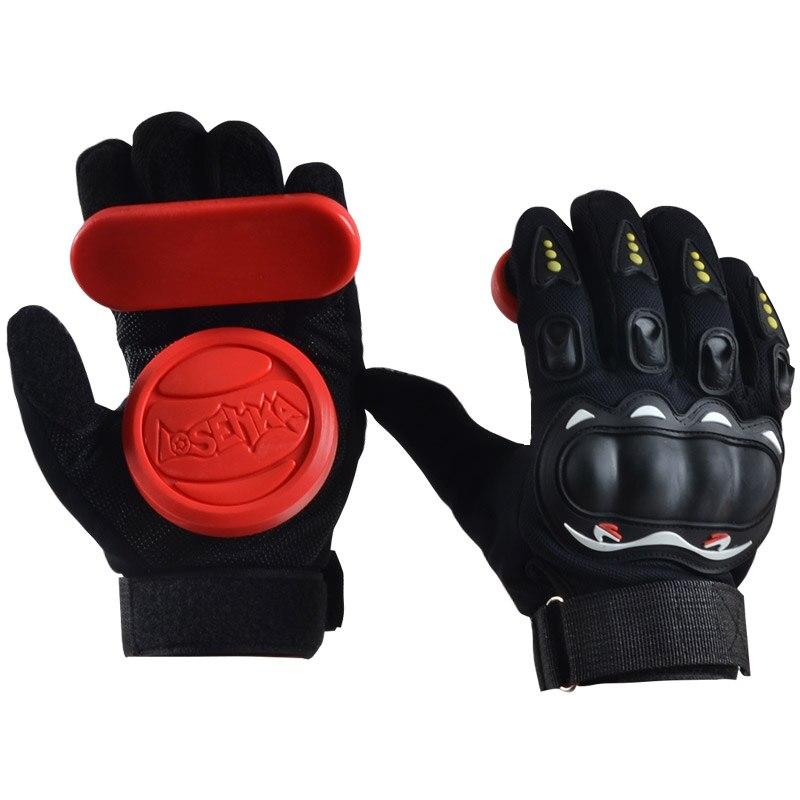 1 par full Finger shockproof monopatín Longboard guante con protector Sliders profesional Abrigos de plumas colina Skateboarding Guantes