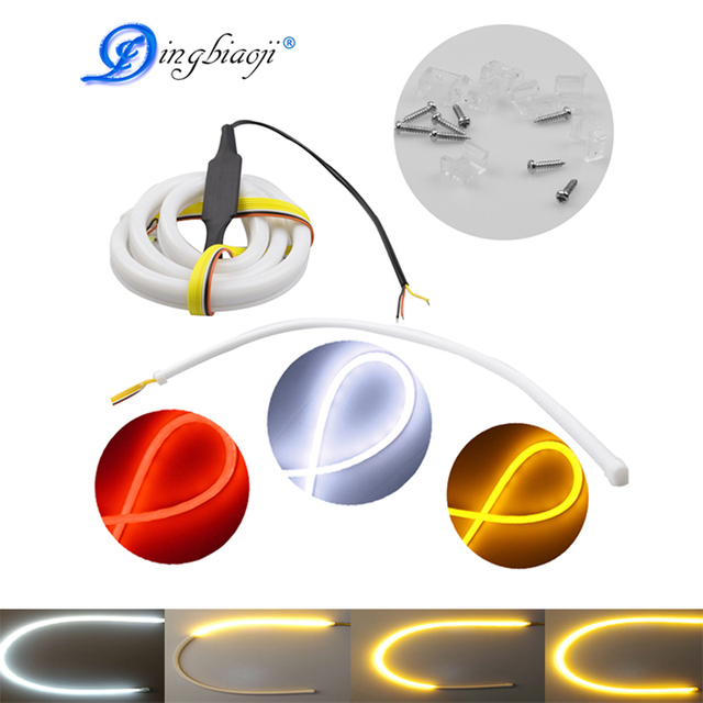 Free Shipped Flexible Car DRL Running Turn Signal White Amber/Red LED Flowing Bar Silicone Daytime Running Light Headlight Strip