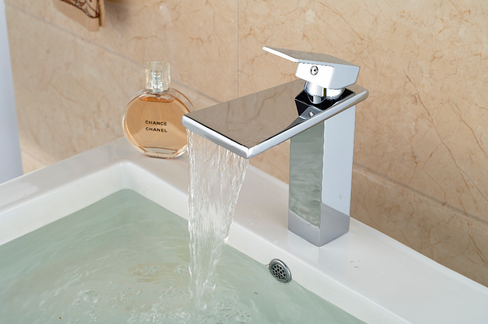 Chrome Brass Big Waterfall Bathroom Basin Faucet Square Vanity Sink Mixer Tap