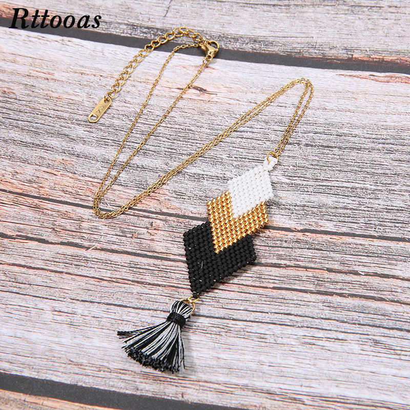 Rttooas Fashion Women's Necklaces & Pendants choker necklace MIYUKI Beads Handmade Tassel Necklace Girls Gift