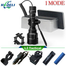 1 mode spotlight hunting tactical flashlight led torch cree xm l2 xml t6 Rechargeable 18650 waterproof light searchlight lumen(China)
