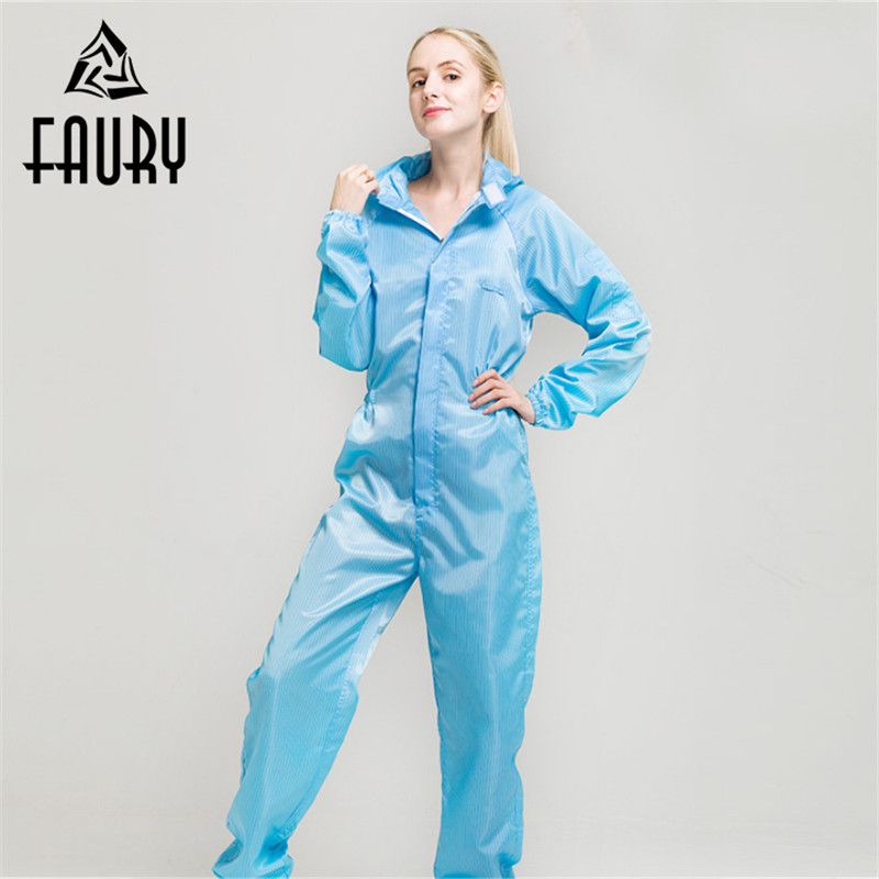 Unisex Anti-static Dustproof Hooded Painting Overalls Protective Worker Boiler Suit Uniforms Clean Clothing Women Men Jumpsuit