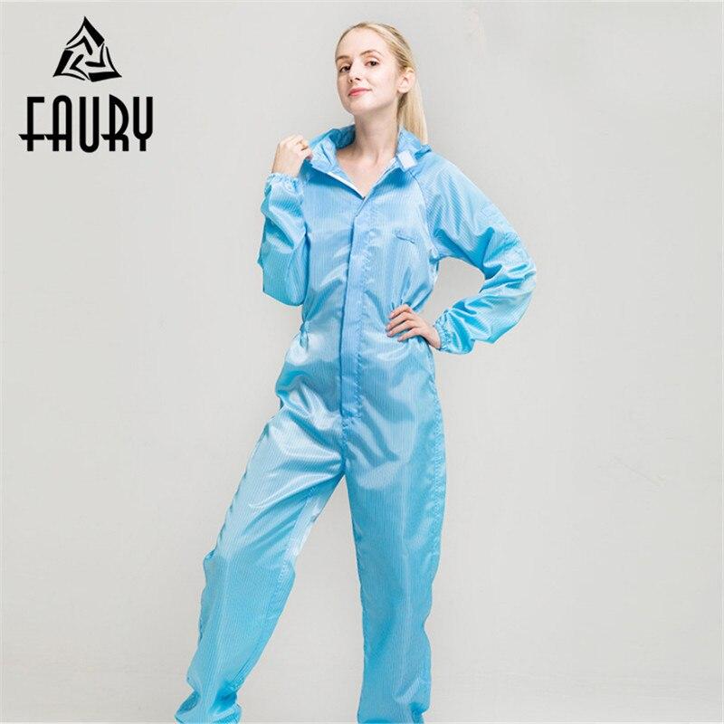 Unisex Anti-static Dustproof Hooded Painting Overalls Protective Worker Boiler Suit Uniforms Clean Clothing Women Men Jumpsuit