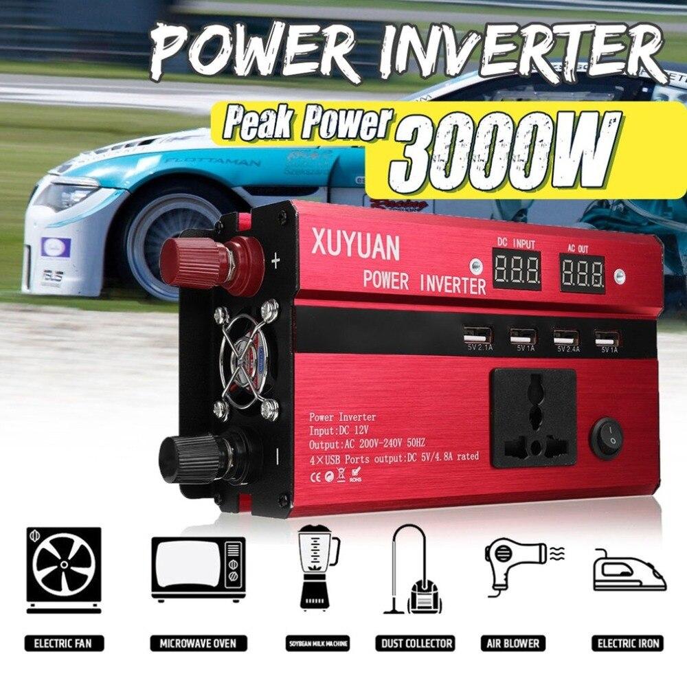 3000W Portable Car Solar Power Inverter Sine Wave Converter DC12V TO 110V Voltage Converter Car Solar Power Inverter US Plug