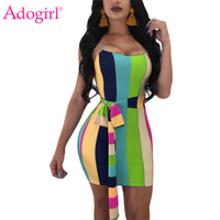 Adogirl S-XXL Rainbow Listrado Colorido Cintas de Espaguete vestido de Verão Mini Vestido com Caixilhos Strapless Bodycon Mulheres Sexy Clube Vestido